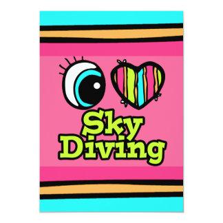 Bright Eye Heart I Love Skydiving 5x7 Paper Invitation Card