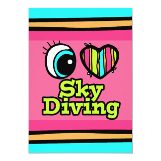 Bright Eye Heart I Love Skydiving 5x7 Paper Invitation Card