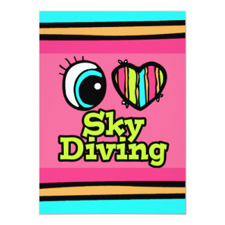 Bright Eye Heart I Love Skydiving 4.5x6.25 Paper Invitation Card