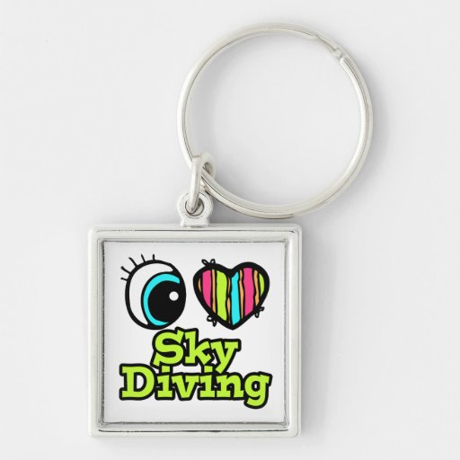 Bright Eye Heart I Love Skydiving Keychains