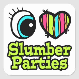 Bright Eye Heart I Love Slumber Parties Square Sticker
