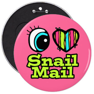Bright Eye Heart I Love Snail Mail 6 Inch Round Button