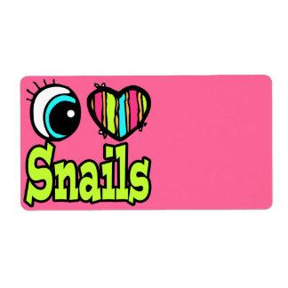 Bright Eye Heart I Love Snails Custom Shipping Label