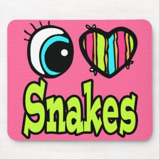 Bright Eye Heart I Love Snakes Mouse Pad