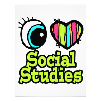 Bright Eye Heart I Love Social Studies Personalized Announcements