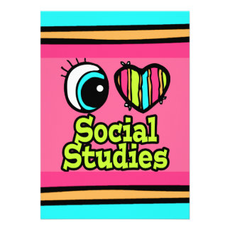 Bright Eye Heart I Love Social Studies Custom Announcement
