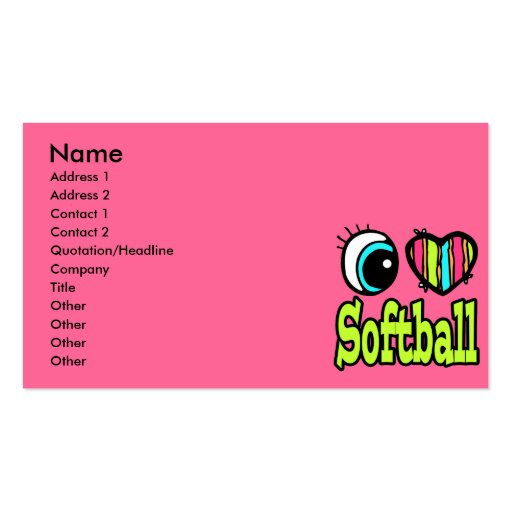 Bright Eye Heart I Love Softball Double-Sided Standard Business Cards (Pack Of 100)