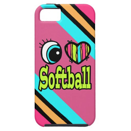 Bright Eye Heart I Love Softball iPhone 5 Cases