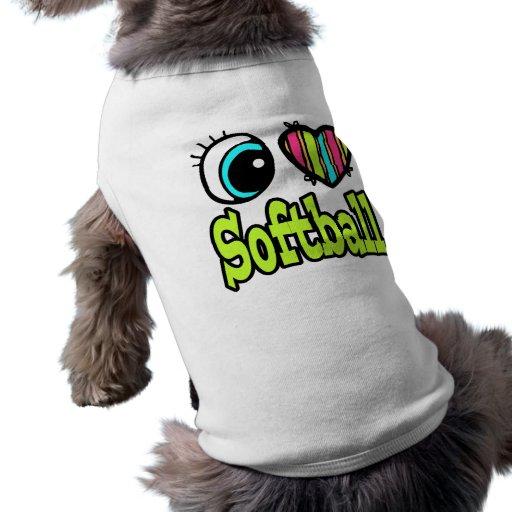 Bright Eye Heart I Love Softball Dog Tee