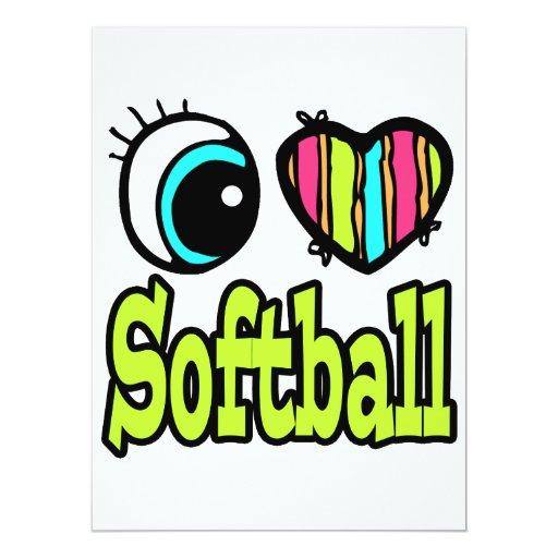 Bright Eye Heart I Love Softball Custom Invitations