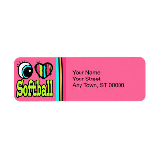 Bright Eye Heart I Love Softball Return Address Labels