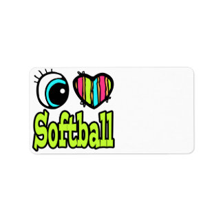 Bright Eye Heart I Love Softball Label