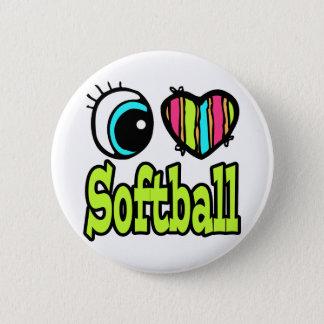 Bright Eye Heart I Love Softball Pinback Button