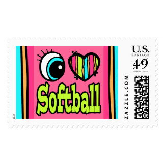 Bright Eye Heart I Love Softball Stamps