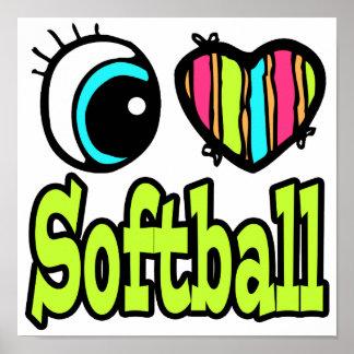 Bright Eye Heart I Love Softball Posters
