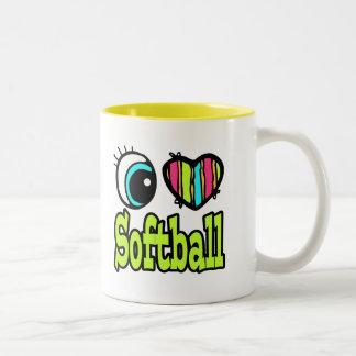 Bright Eye Heart I Love Softball Two-Tone Coffee Mug