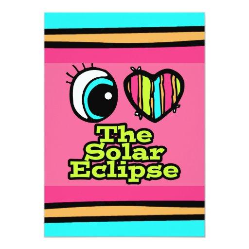 Bright Eye Heart I Love Solar Eclipse 5x7 Paper Invitation Card