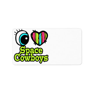 Bright Eye Heart I Love Space Cowboys Personalized Address Labels