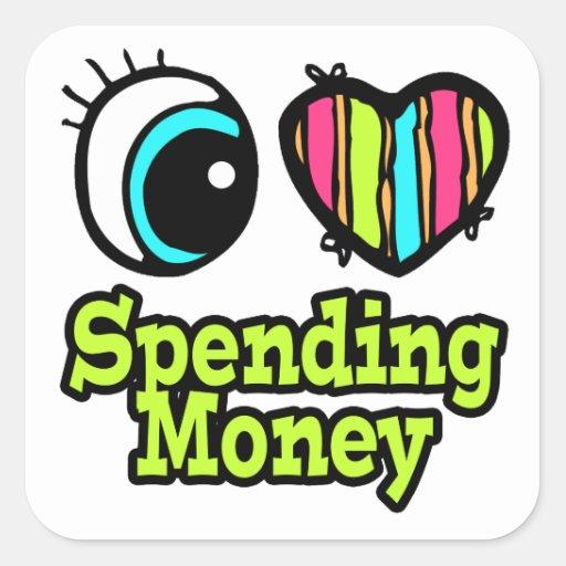 Bright Eye Heart I Love Spending Money Stickers