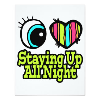 Bright Eye Heart I Love Staying Up All Night Custom Invitations