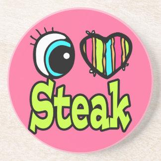 Bright Eye Heart I Love Steak Beverage Coasters
