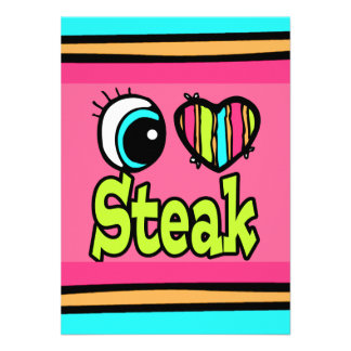 Bright Eye Heart I Love Steak Personalized Invites