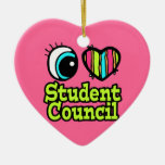 Bright Eye Heart I Love Student Council Double-Sided Heart Ceramic Christmas Ornament