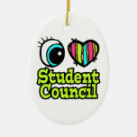 Bright Eye Heart I Love Student Council Double-Sided Oval Ceramic Christmas Ornament