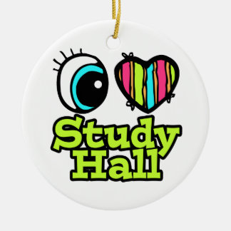 Bright Eye Heart I Love Study Hall Double-Sided Ceramic Round Christmas Ornament