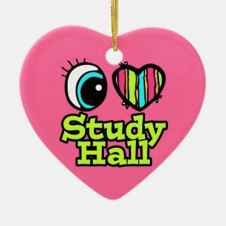 Bright Eye Heart I Love Study Hall Double-Sided Heart Ceramic Christmas Ornament
