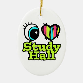 Bright Eye Heart I Love Study Hall Double-Sided Oval Ceramic Christmas Ornament
