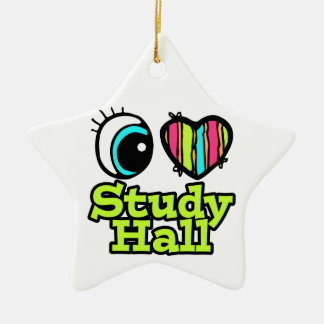 Bright Eye Heart I Love Study Hall Double-Sided Star Ceramic Christmas Ornament