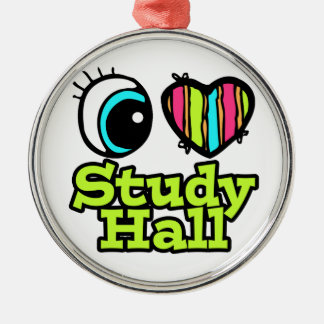 Bright Eye Heart I Love Study Hall Round Metal Christmas Ornament