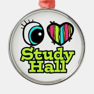 Bright Eye Heart I Love Study Hall Round Metal Christmas Ornament