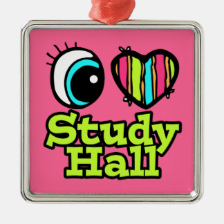 Bright Eye Heart I Love Study Hall Square Metal Christmas Ornament