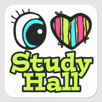 Bright Eye Heart I Love Study Hall Square Sticker