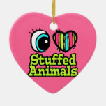 Bright Eye Heart I Love Stuffed Animals Double-Sided Heart Ceramic Christmas Ornament