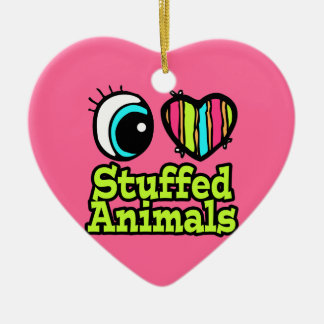 Bright Eye Heart I Love Stuffed Animals Double-Sided Heart Ceramic Christmas Ornament