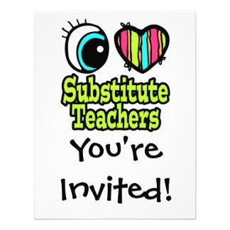 Bright Eye Heart I Love Substitute Teachers Personalized Invitations