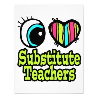 Bright Eye Heart I Love Substitute Teachers Custom Invitation
