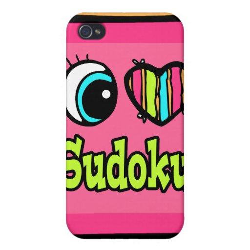 Bright Eye Heart I Love Sudoku Covers For iPhone 4