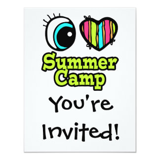 Bright Eye Heart I Love Summer Camp 4.25x5.5 Paper Invitation Card
