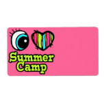 Bright Eye Heart I Love Summer Camp Custom Shipping Labels