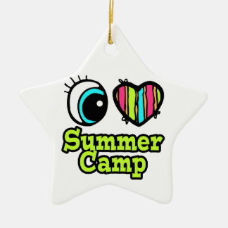 Bright Eye Heart I Love Summer Camp Double-Sided Star Ceramic Christmas Ornament