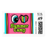 Bright Eye Heart I Love Summer Camp Postage Stamp