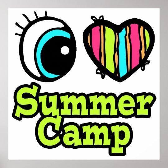 Bright Eye Heart I Love Summer Camp Poster