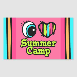 Bright Eye Heart I Love Summer Camp Rectangular Sticker