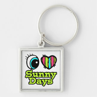 Bright Eye Heart I Love Sunny Days Silver-Colored Square Keychain