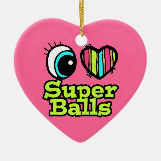 Bright Eye Heart I Love Super Balls Double-Sided Heart Ceramic Christmas Ornament