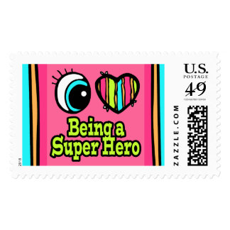Bright Eye Heart I Love Super Hero Stamp